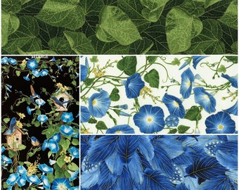 Morning Glory Cotton Metallic Fabric by Timeless Treasures! [Choose Your Cut Size]