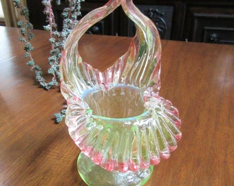 Pink and Green Antique Bohemian Floriform Basket