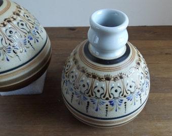 Vintage Candlesticks Holders Jars Vases Ceramic Pottery Organic Geometric Abstract Floral Brown Blue European Ethnic Design