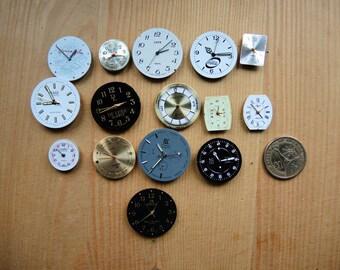 Set of 15 -- Featured - Steampunk supplies - Watch movements with dial - watch dials - Watch movements and face - Steampunk supply -- 01a