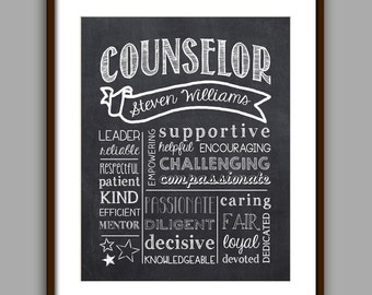 Counselor Gift, Counselor Chalkboard Style Printable, Counselor Christmas Gift,  Counselor Thank You, Counselor Printable, Digital File 8x10