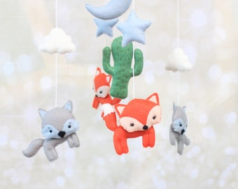 Fox mobile fox baby mobile Woodland mobile wolf mobile Cactus mobile Desert mobile crib mobile Moon mobile Coyote mobile Nature mobile
