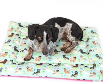 Crate pad, dog bed, dachshund custom fleece, crate mat, dog bedding