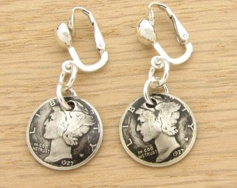 For 90th: 1927 Antiqued US Mercury Dime Earrings 90th Birthday Gift Coin Jewelry