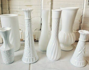 White Glass Vases Milk Glass Seven Pieces Wedding Accessories Table Centre Pieces Country Cottage