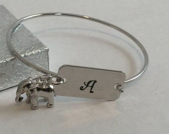 Personalized initial charm bangle