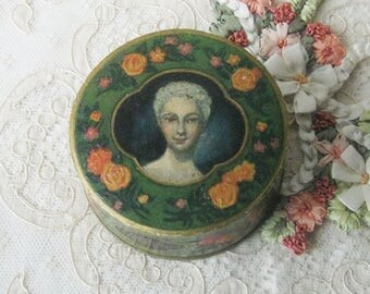 RARE Antique French MANON LESCAUT Face Powder from 1894 - Beautiful Graphics - Collectible for Boudoir or Vanity