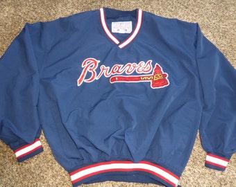 Vtg Atlanta Braves Starter SEWN MLB Pullover Jacket Sz Men's M