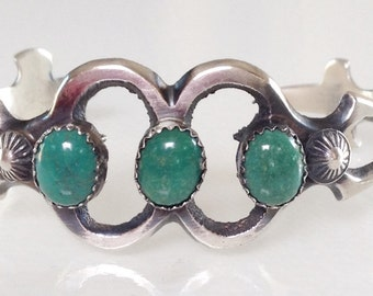 Native American Old Pawn Navajo Turquoise Sterling Sandcast Bracelet Signed Keyonnie Begay