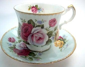 Blue Paragon Tea cup And Saucer,  Floral tea cup and saucer, Teacup and Saucer with Roses