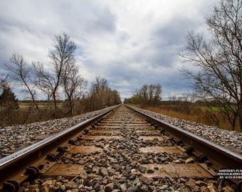 Railroad Photography, Train Tracks Print, Tracks, Railroad Art, Photography Tracks, Oklahoma Picture, Railroad Print, Railroad Tracks