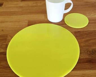 Round Placemats or Placemats & Coasters - in Yellow Gloss Finish Acrylic 3mm