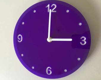 """Round Purple & White Clock - White Acrylic Back, Purple Finish Acrylic with White hands, Silent Sweep Movement.  Sizes 8"""" or 12"""""""