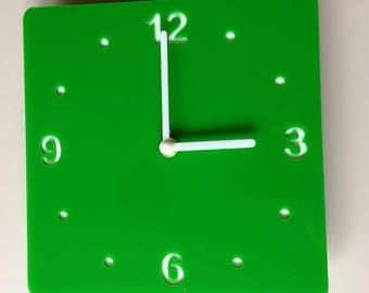 Rounded Corner Square Bright Green & White Clock - White Acrylic Back, Gloss Finish Acrylic with White hands, Silent Sweep Movement