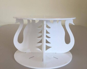 """Swans Round White Gloss Acrylic Cake Pillars / Cake Separators, for Wedding / Party Cakes 10cm 4"""" High, Size 6"""" 7"""" 8"""" 9"""" 10"""" 11"""" 12"""""""