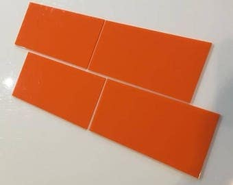 "Orange Gloss Acrylic Rectangle Crafting Mosaic & Wall Tiles, Sizes: 1cm to 25cm -  1"" to 10"""