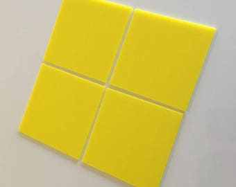 "Yellow Gloss Acrylic Square Crafting Mosaic & Wall Tiles, Sizes: 1cm to 20cm - 1"" to 7.9"""