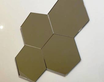 "Silver Mirror Acrylic Hexagon Crafting Mosaic & Wall Tiles, Sizes: 1cm to 20cm - 1"" to 7.9"""