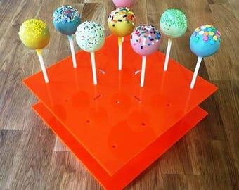 "Square Orange Gloss Acrylic Cake Pop Stands - 21cm x 21cm 8"" (16 cakepops) or 30cm x 30cm 12"" (32 cakepops)"