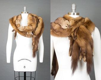 Vintage 40s 50s Marten Sable Golden Brown Fur Wrap | 1940s 1950s Four Animal Pelt Stole Evening Wrap