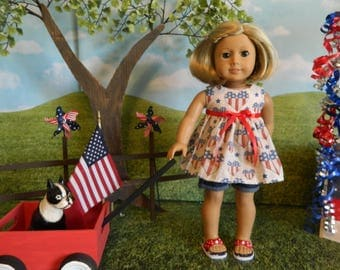 fits like American Girl doll clothes - 4th of July doll clothes - 18 inch doll clothes