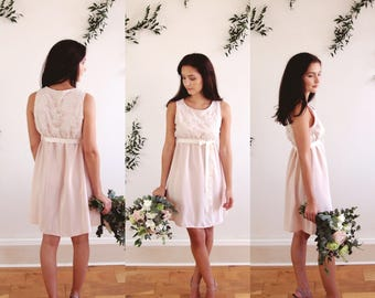 HOLLIE - scoop neck lace bodice bridesmaid dress grosgrain ribbon tied at the waist - boho - petite - midi length - Ready to Wear