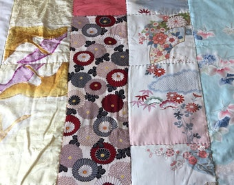 Patchwork thin quilt - used kimono of vintage