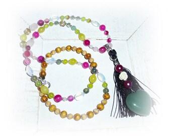 Long chain, heart made of agate, Aventurine, tassel