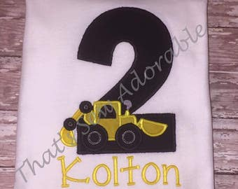 Tractor Applique Birthday Shirt-Customizable