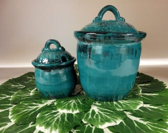 Turquoise Kitchen Canister Set, Handmade Pottery