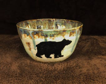 Large Black Bear Centerpiece Bowl