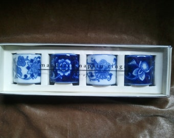 4 Pier One 'Mandarin' Blue and White Ceramic Napkin Rings...Ships Free!