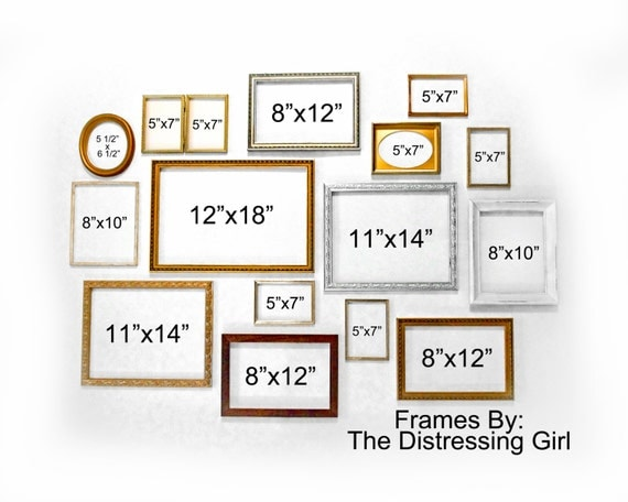 LARGE Frame Set 15 Mixed Metal and Wood Frames Gallery Wall