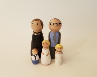 Custom Peg Doll Family of 5