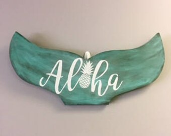 Rustic distressed Aloha Mermaid/Whale Tail great for beach home, girls room and more