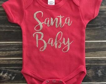 Santa Baby Onesie, Creeper, bodysuit, personalized gift | Christmas onesie | Santa Baby Christmas Onesie