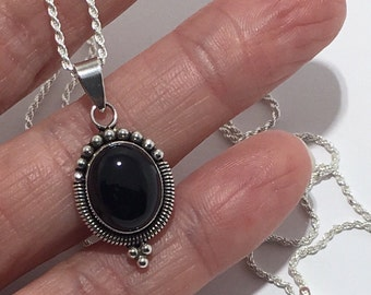 Beautiful Boho Style Black Onyx Solid 925 Sterling Silver Necklace 18""