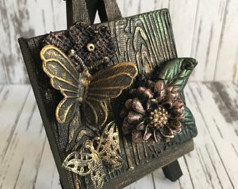 Vintage  Antique Butterfly and Flower Mixed Media miniature canvas