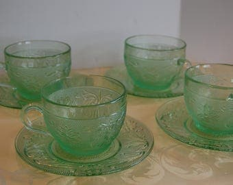 Vintage Green Sandwich Cups and Saucers (4), Chantilly Sandwich, Tiara Glassware, Indiana Glass, Green Sandwich cup, Green Sandwich Saucer
