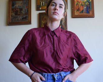 Maroon Silk Top