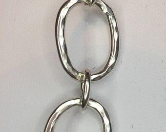 Silver Oval Link Beaten Bracelet
