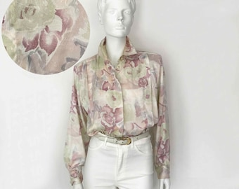 The ANNE KLEIN Vintage 80s Blouse Pastel  Watercolor Floral Abstract Printed Silky Slouchy Womens Top, O/S