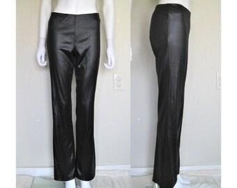 Spacegirlz Black Low Rise Wet Look Flare Leg Pants / Club Kid Future