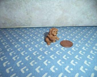 1:12 scale Dollhouse Miniature Dark Tan Puppy