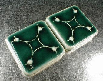 2x2 art tile, glossy blue glaze,  fireplace tile, accent tile, handmade art tile, kitchen tiles, handmade fireplace ceramic tile. lily tile