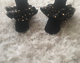 Black ruffle socks with black and gold polka dots