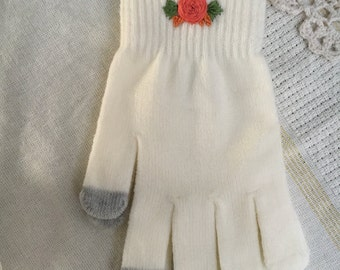 RTS - Embellished knit gloves - roses, winter, mittens