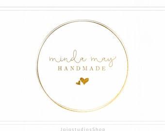 Premade Gold Logo + Watermark - Handwritten Logo in a Circle - L017