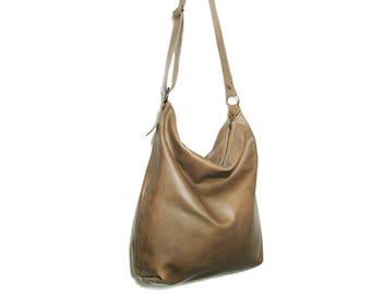 Handmade green olive leather hobo bag