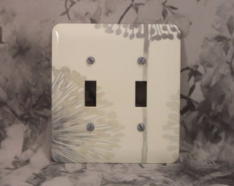Metal Dandelion Double Toggle Light Switch Covers - Dandelions - 2 Toggle - 2T